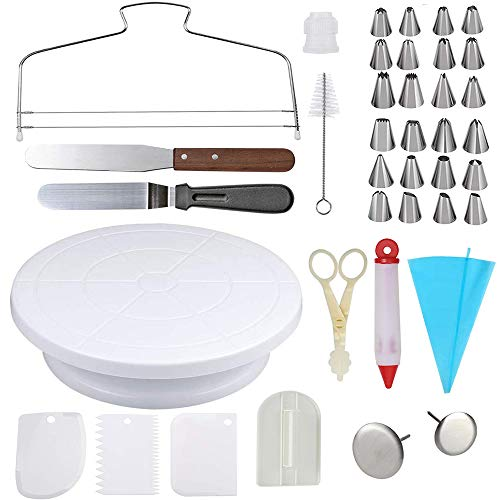 (Cake Decorating Kit With  11'' Angled Icing Spatula Icing Smoother Revolving Cake Stand)