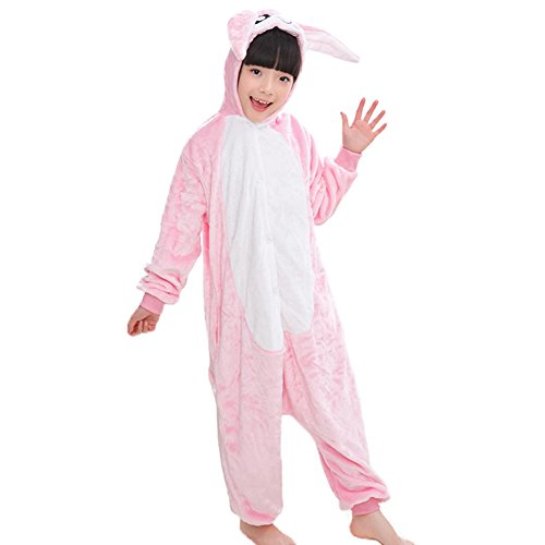 Unisex Kids Onesie Hoodie Pajamas Warm Flannel Rabbit Cosplay Costumes Jumpsuit (Pink, 7-10)]()
