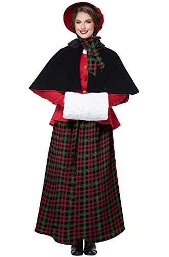 Christmas Carol Costumes (California Costumes Women's Holiday Caroler Woman-Adult Costume, Red/Green/Black,)
