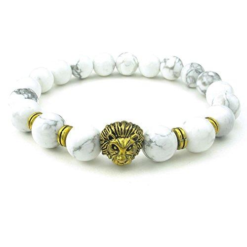 KONOV Stone Mens Bracelet, 10mm Natural Energy Gemstone Beads Bangle, Lion Charm, White Gold