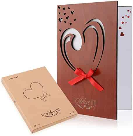 Unomor Love Card Handmade Imitation Wood Greeting Card for Anniversary, Birthday, Valentines Day with Gift Box