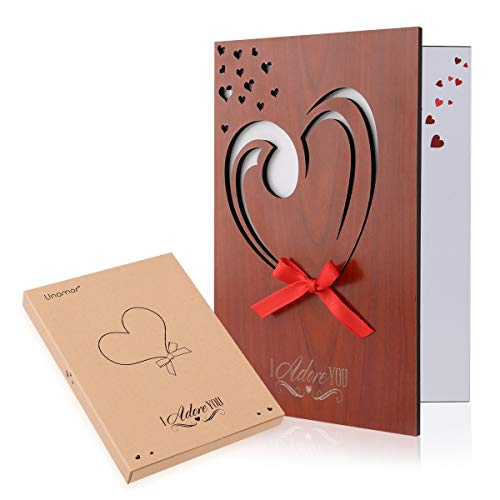 Unomor Love Card Handmade Imitation Wood Greeting Card for Anniversary, Birthday, Valentines Day with Gift Box (Birthday Cards Valentines)
