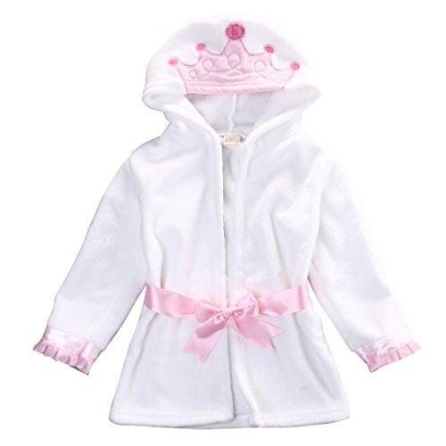 Glosun Baby Coral Fleece Bathrobe Toddler Kids Hooded Terry Robe Cartoon Animal Pajamas Sleepwear Bath Wrap (4T, Pink Crown)