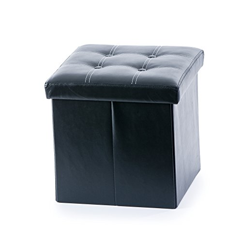 Guidecraft Storage Ottoman Black - Chest with Removable Top Cushion,  Toddlers Seat and Foot Rest Stool Toy Box, Kids Furniture
