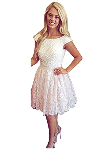 Scarisee Women's Capped Sleeves A-line Scoop Beaded Homecoming Prom Dresses Short/Mini Party Gowns White 10 ()