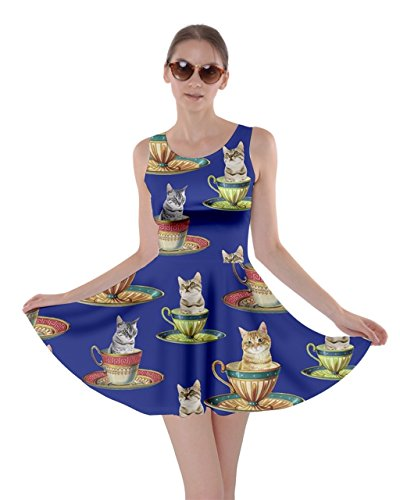 CowCow Womens Afternoon Tea Cat Blue Skater Dress, Blue - L -