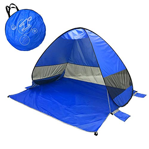 Lightahead Automatic Pop Up UV Resistant (UV50+) Sun Shade Portable Camping Tent Picnicing Fishing Hiking Canopy Easy Setup Outdoor Cabana Tents with Carry Bag (Small 2P, Blue)