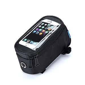 "Topnaca Waterproof Bike Bicycle Cycling Handlebar Frame Pannier Front Top Tube Bag Pack Rack X Large for IPhone 6 Plus Samsung Mobile Phone (Black, 4.8"")"
