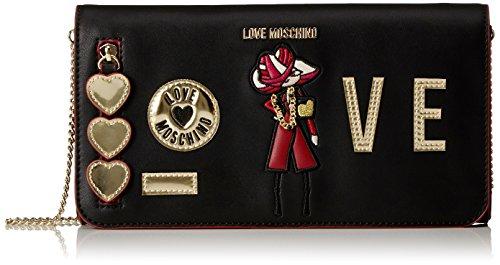 Love Moschino Borsa Calf Pu Nero - Borse a tracolla Donna, Schwarz (Black), 13x26x6 cm (B x H T)