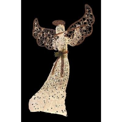 5 ft tall lighted grapevine christmas nativity guardian angel clear lights outdoor decor holiday yard decoration - Lighted Christmas Angel Yard Decor