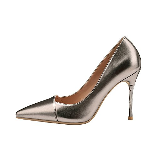 Alto Zapatos Tacco Metallo Parti Della Pompe Di In Argento Colore Sottile Bacchette Pistola Luminose Mujer Base Tacco Scarpe Oro Tacon tqtvxFO