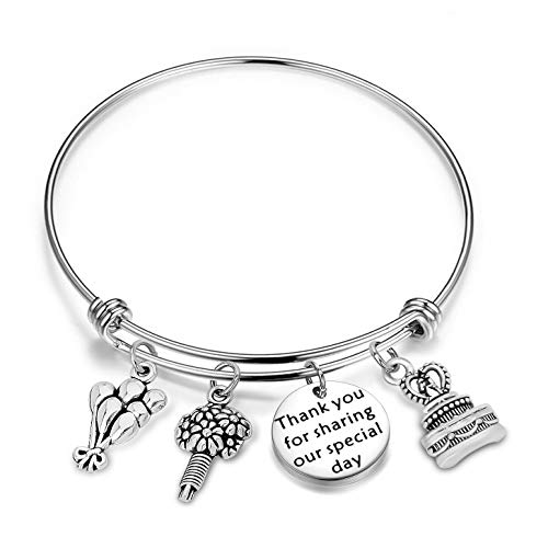 WUSUANED Thank You for Sharing Our Special Day Expandable Wire Bracelet Bangle Party Favor Gift for Wedding or Birthday (Wedding Favor Gift)]()