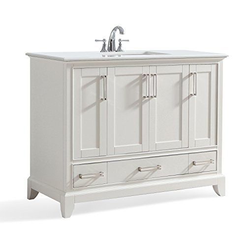 Simpli Home AXCVGNW-42 Elise 42 inch Traditional Bath Vanity in Soft White with Bombay White Engineered Quartz Marble Top ()