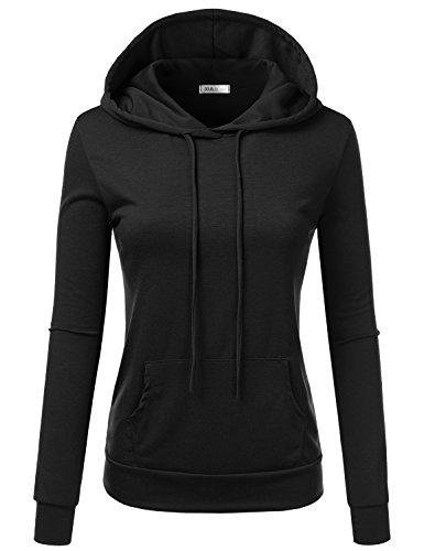 Doublju Basic Thin Pullover Hoodie Kangaroo Pocket Women Plus Size (Made in USA)