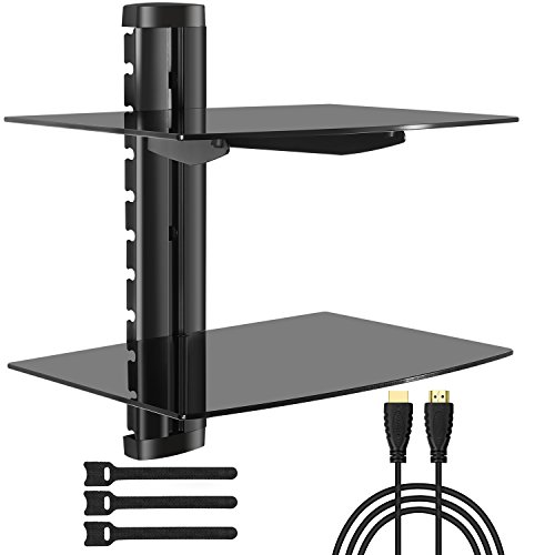 Large Entertainment Unit (PERLESMITH AV Shelf - Double Floating Wall Mount Shelf - Holds up to 16.5lbs - DVD DVR Component Shelf with Strengthened Tempered Glass - Perfect for PS4, Xbox One, Xbox 360, TV box and Cable Box)