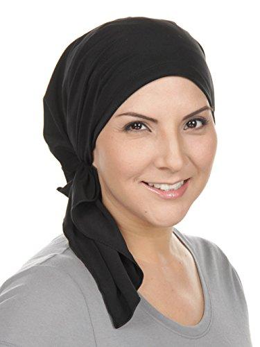 (The Bella Scarf Chemo Turban Head Scarves Pre-Tied Bandana for Cancer Raven Black)