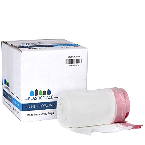 "Plasticplace 4 Gallon White Drawstring Trash Bags, 100% Prime Material, 17""x16"", 0.7 Mil, 200/Case - Box Designed with EASY OPEN Flap for your convenience"