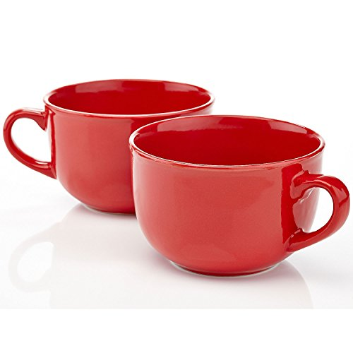 Home Intuition Jumbo XL Ceramic Mug 22 oz, Red, Set of 2