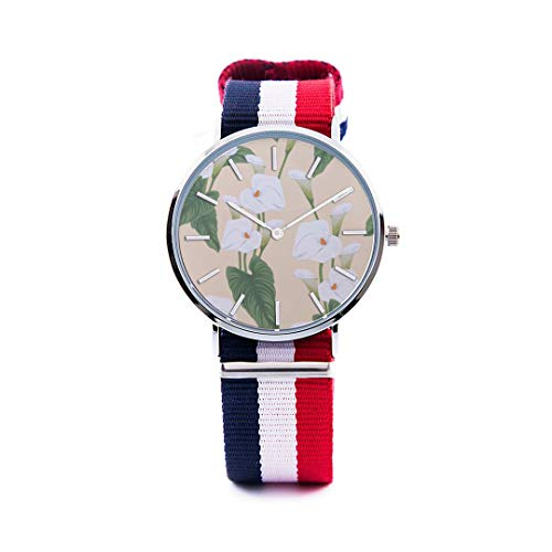 Unisex Fashion Watch Calla White Floral Hand Drawn Romatic Print Dial Quartz Stainless Steel Wrist Watch with Nylon NATO Strap Watchband for Women/Men 36mm&40mm Casual Watch (Calla Blossom White)