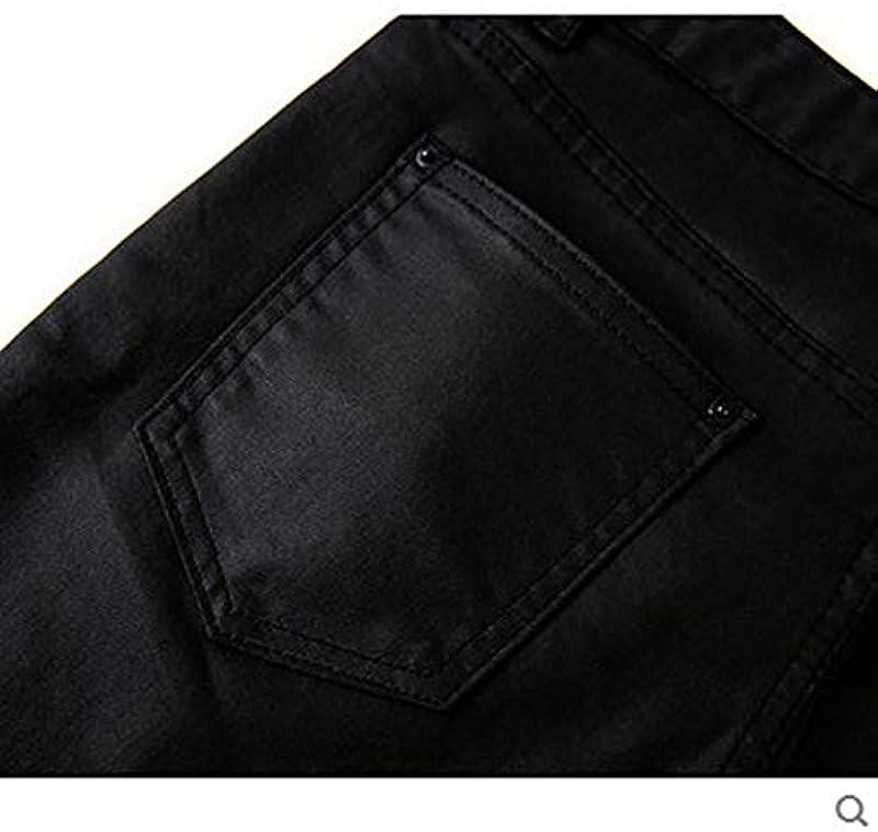 SUIWO męskie dżinsy Slim Denim Jeans męskie dżinsy motocyklowe czarne powlekane dżinsy woskowane Punk Style Slim Fit Biker-Denim spodnie, czarny, 33: Küche & Haushalt