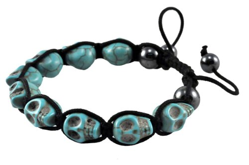 Tibetan Sky Blue Prayer Beads Skull Bracelet Wrist Mala Shamballa Bracelet