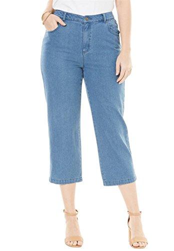 Jessica London Women's Plus Size Classic Cotton Denim Crop Pant Medium (Pant Crop Zip)