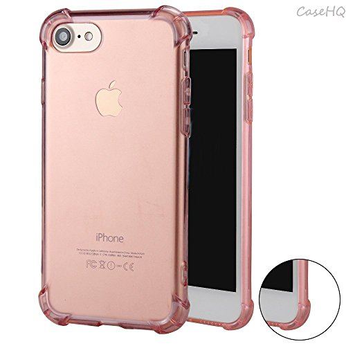 iPhone 7 Case CaseHQ Flexible TPU Extra Protection Transparent Comfortable Grip Reinforced Bumper Ultra Slim Fit Protective Defender Back Covers Rubber Silicone Skin Cover(Rosegold iPhone 7 Case)