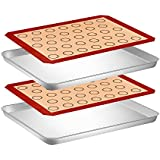 Silicone Baking Mat and Sheet Set, 2 Pcs Pastry Mat and 2 Pcs Baking Sheet, Stainless Steel Cookie Sheet Baking Pan with Silicone Mat