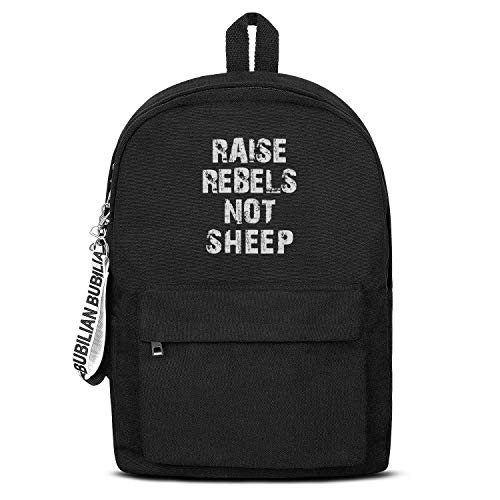 (Raise Rebels Not Sheep Unisex Canvas Backpack Design Satchel Vans Backpack for Girls Boys)