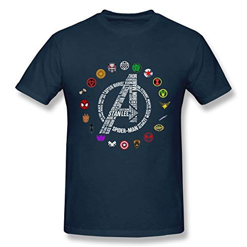 (Funny T-Shirt for Avengers End Game Stan Lee and Super Heroes's Symbol Navy)