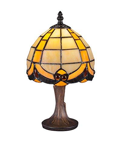 Toltec Lighting 55-DG-9897 Mini Table Lamp with 7.25″ Butterscotch Tiffany Glass, Dark Granite Finish