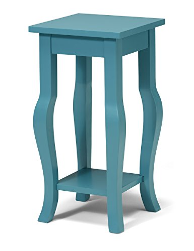 - Kate and Laurel Lillian Wood Pedestal End Table Curved Legs with Shelf, Teal