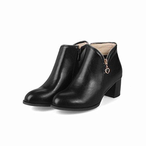 Latasa Womens Chunky Heels Ankle Boots Black Swbt5