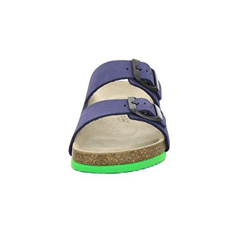 AFS-Schuhe 1100, Sportliche Kinder-Pantoletten, Hochwertiges, Echtes Leder Marine