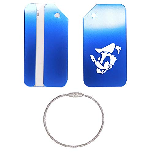 - DONALD DUCK DISNEY BUZZ STAINLESS STEEL - ENGRAVED LUGGAGE TAG - SET OF 2 (ROYAL BLUE) - FOR ANY TYPE OF LUGGAGE, SUITCASES, GYM BAGS, BRIEFCASES, GOLF BAGS