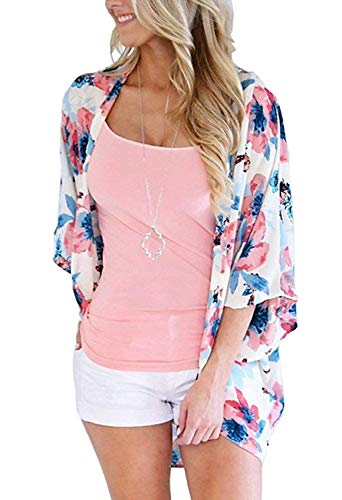 - Women's 3/4 Sleeve Floral Kimono Cardigan, Sheer Loose Shawl Capes, Chiffon Beach Cover-Up, Casual Blouse Tops (C21-red, X-Large)