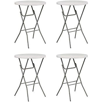 Amazon Com Flash Furniture 32 Round Granite White Plastic Bar Height Folding Table