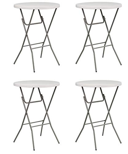 Flash Furniture 32'' Round Granite White Plastic Bar Height Folding Table (Pack of ()