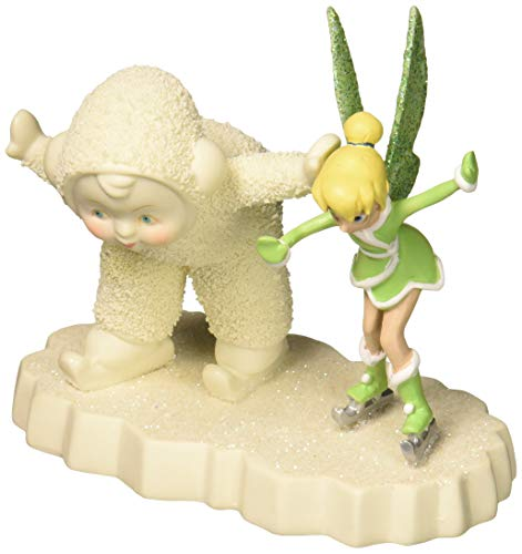 """Department 56 Snowbabies and Disney """"Skating with Tinker Bell"""" Porcelain Figurine, 4"""""""