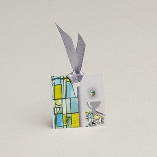 D& Y Lot DE 12 étiquettes boites à dragées ballotins à dragées Communion vitrail Vert Y&D