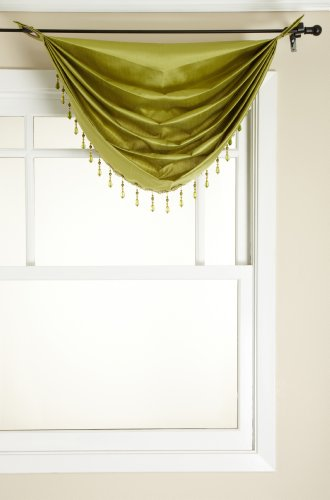 Stylemaster Tribeca Faux Silk Grommet Waterfall Valance with Beaded Trim, Avocado, 36 by 37-Inch