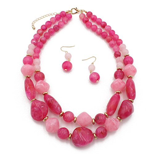 Ufraky Women's Acrylic Candy Color Double Layer Pendant Statement Necklace Earrings Set ()