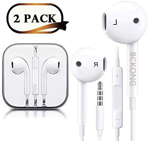 Headphones/Earphones/Earbuds/Headsets 3.5mm Wired Headphones Noise Isolating Earphones with Built-in Microphone & Volume Control Compatible with iPhone 6 SE 5S 4 iPod iPad/Android MP3/4 (White) 2Pack