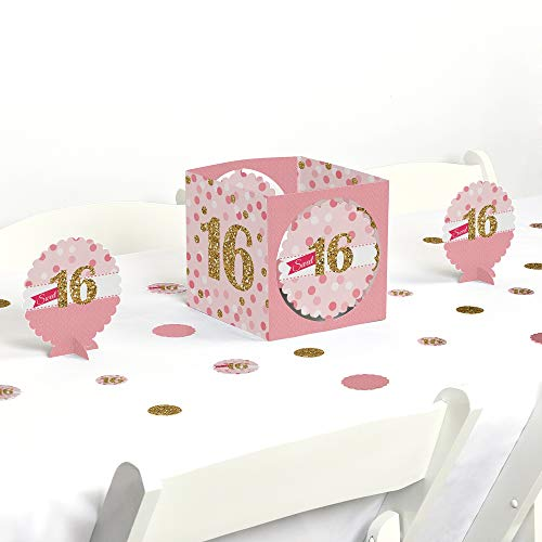 Big Dot of Happiness Sweet 16 - Birthday Party Centerpiece & Table Decoration Kit -