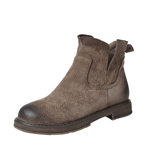 Brown Leather 1bacha Girl Tortor Ankle Chelsea Adult Tennager Lined Fur Boots Bootie Women fvqgZWqOSa