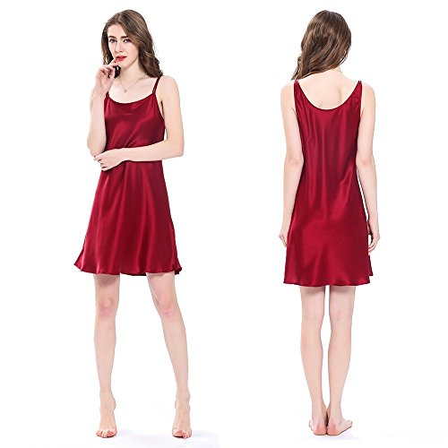 LilySilk Pure Silk Nightgowns for Women Charmeuse 100 Real 16 Momme Silk Short Sexy Chemise Ladies Lingerie Petite Red S/4-6