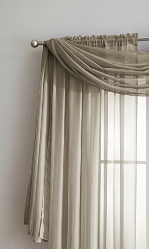 "Sheer Window Scarf (56"" x 216"") – Elegant Home Decor Window Treatments – Add to Window Curtains for Enhanced Effect (Taupe) (Lisette Sheer Panels)"