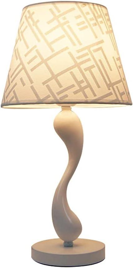 Lámpara de mesita de noche, con pantalla de tela y base de metal protección de ojo suave luz de noche lámpara de mesita de noche, E27 lámparas de mesita de noche exquisitas, para dormitorio, sala de e