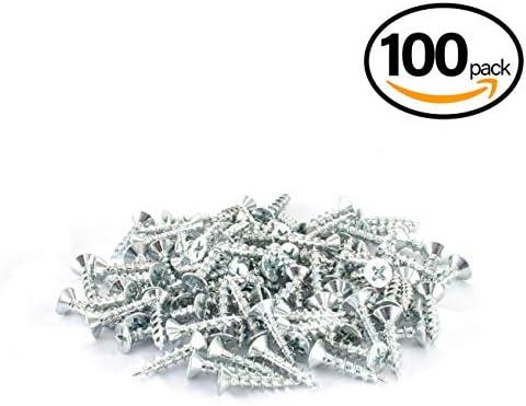 POWERTEC QWS1005 フィリップス フラットヘッド #8 x 3/4インチ ディープスレッドネジ | ニッケル (亜鉛メッキデザイン) 木工用ネジ 100個入り