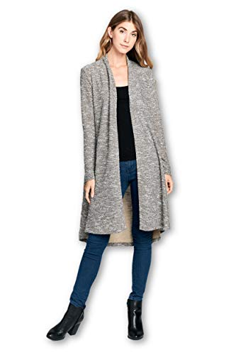 ReneeC. Women's Lightweight Open Front Classic Long Office Cardigan - Made in USA (X-Large, Taupe 3)